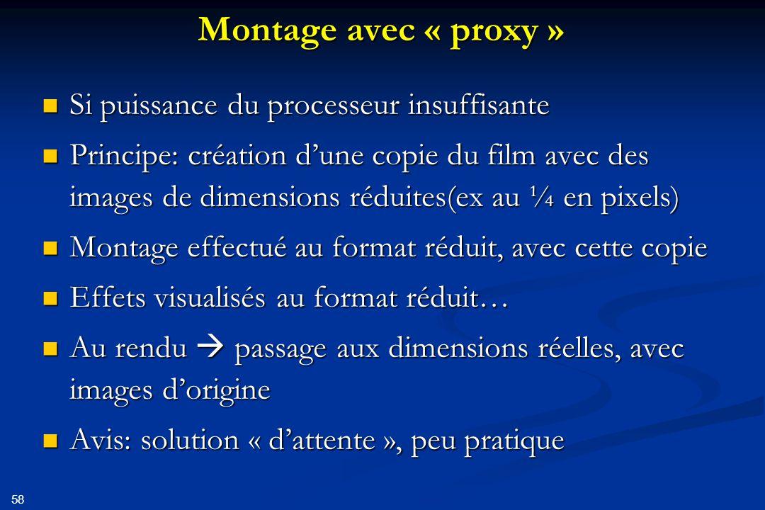 Montage avec « proxy » Si puissance du processeur insuffisante