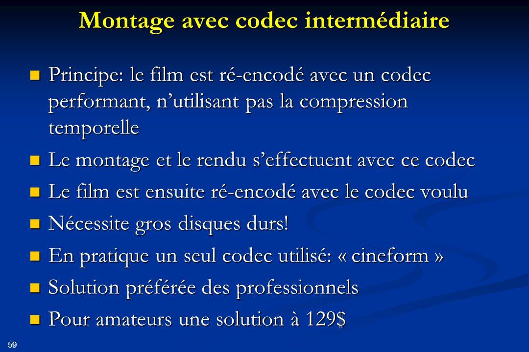 Montage avec codec intermédiaire