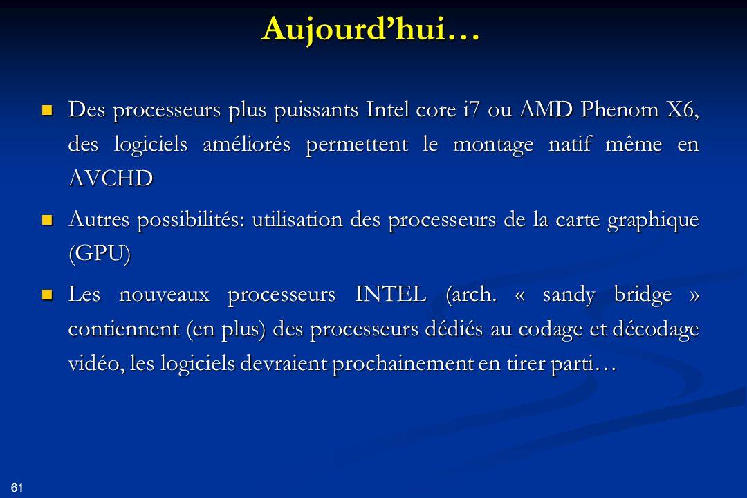 Aujourd'hui… Des processeurs plus puissants Intel core i7 ou AMD Phenom X6, des logiciels améliorés permettent le montage natif même en AVCHD.
