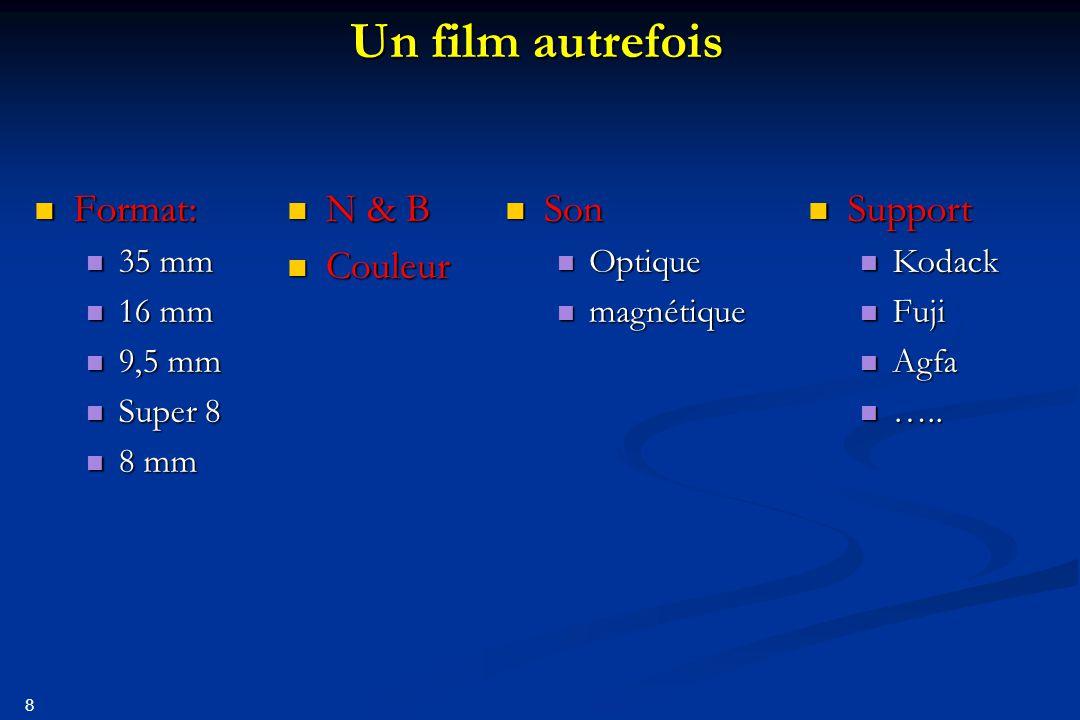 Un film autrefois Format: N & B Couleur Son Support 35 mm 16 mm 9,5 mm