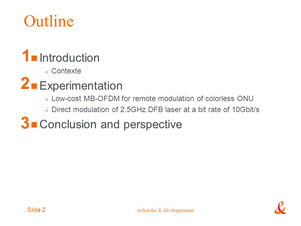 Outline 1 2 3 Introduction Experimentation Conclusion and perspective