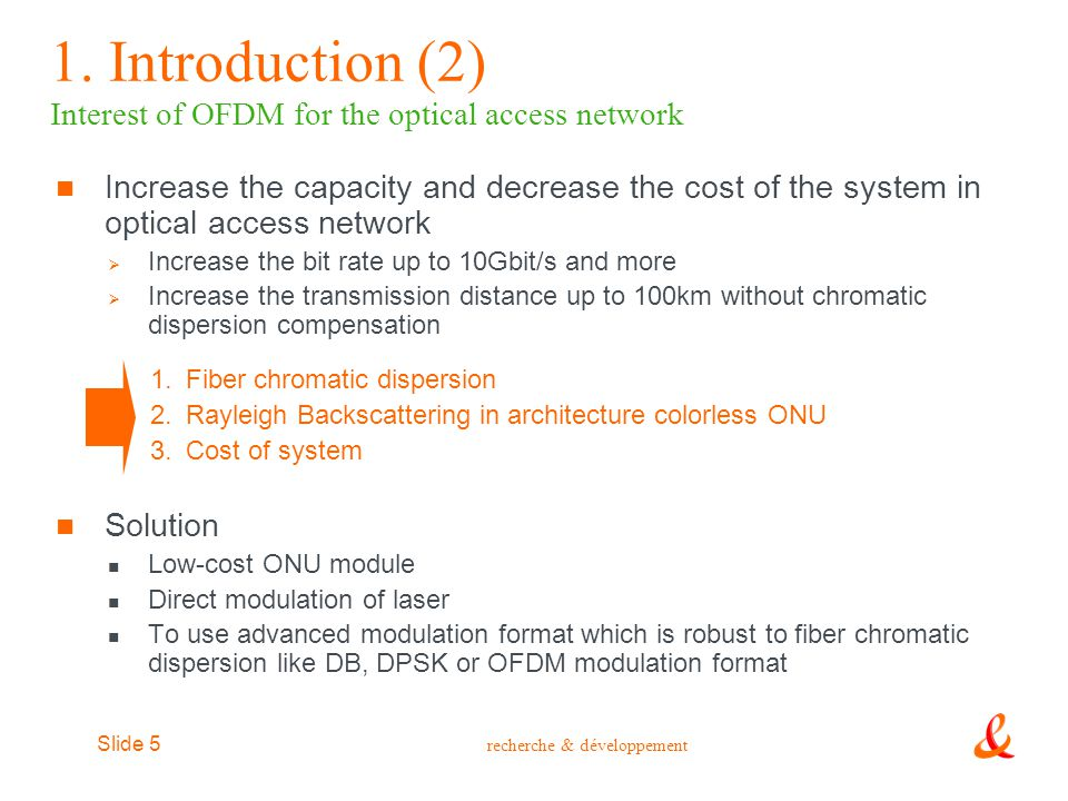1. Introduction (2) Interest of OFDM for the optical access network