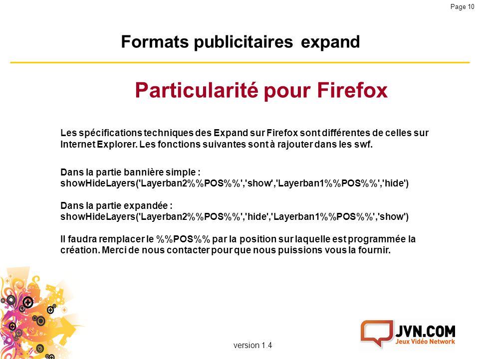 Formats publicitaires expand Particularité pour Firefox