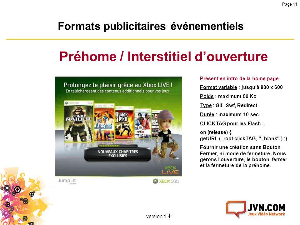Formats publicitaires événementiels Préhome / Interstitiel d'ouverture