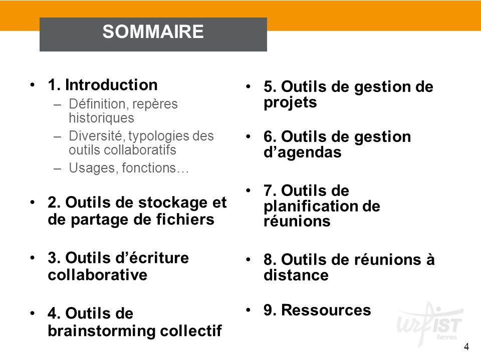 SOMMAIRE 1. Introduction 5. Outils de gestion de projets
