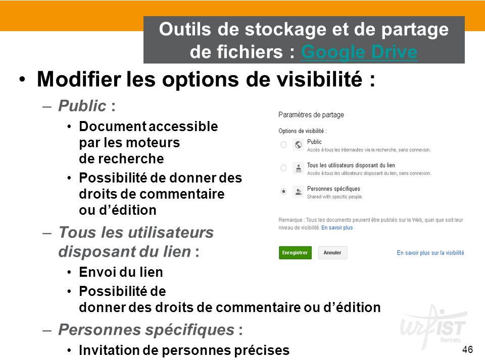 Outils de stockage et de partage de fichiers : Google Drive
