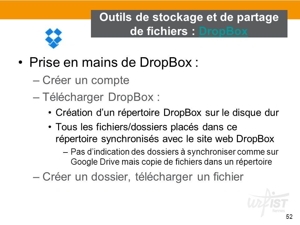 Outils de stockage et de partage de fichiers : DropBox