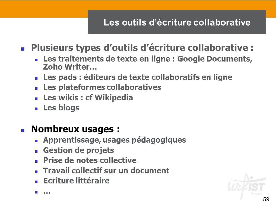 Les outils d'écriture collaborative