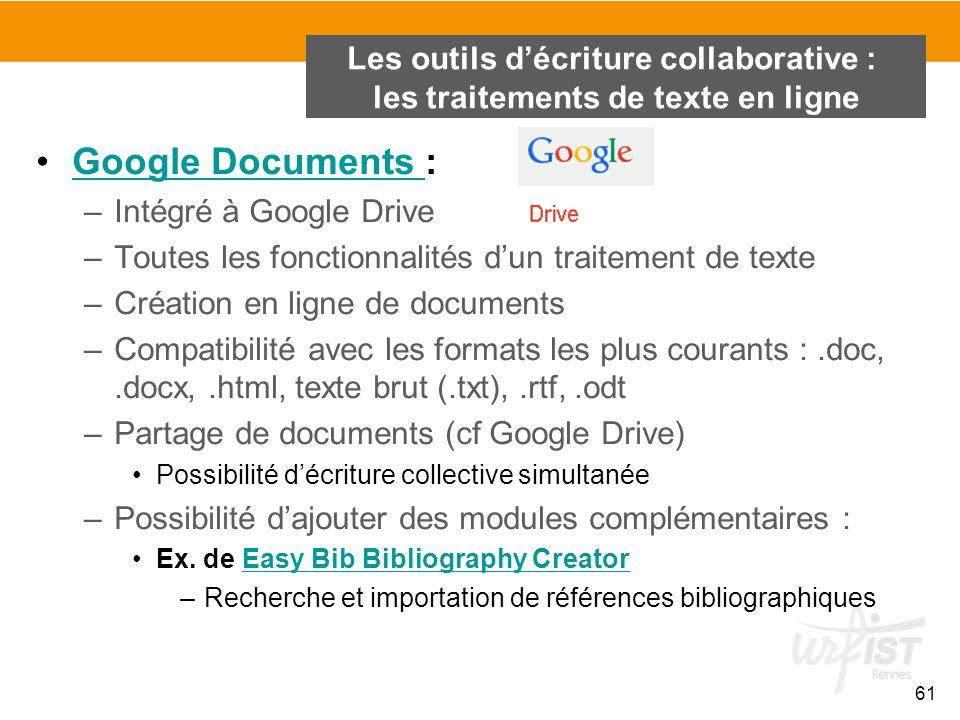 Les outils d'écriture collaborative : les traitements de texte en ligne