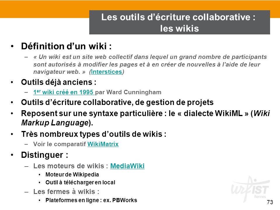 Les outils d'écriture collaborative : les wikis