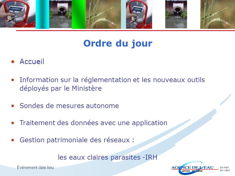 Ordre du jour Accueil. Information sur la réglementation et les nouveaux outils. déployés par le Ministère.