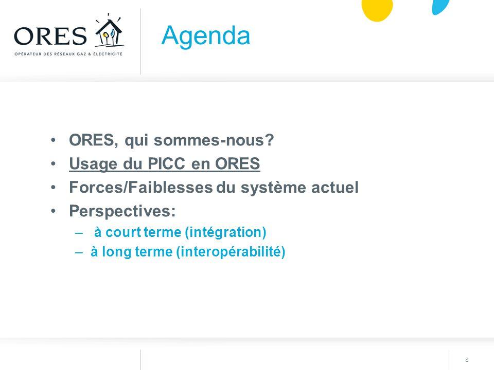Agenda ORES, qui sommes-nous Usage du PICC en ORES