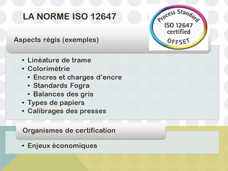 La Norme ISO 12647 Linéature de trame Colorimétrie