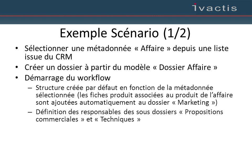 Exemple Scénario (1/2) Sélectionner une métadonnée « Affaire » depuis une liste issue du CRM.