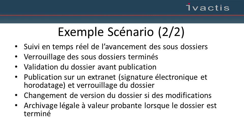 Exemple Scénario (2/2) Suivi en temps réel de l'avancement des sous dossiers. Verrouillage des sous dossiers terminés.