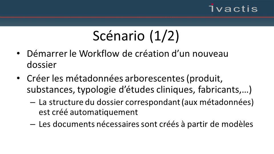Scénario (1/2) Démarrer le Workflow de création d'un nouveau dossier