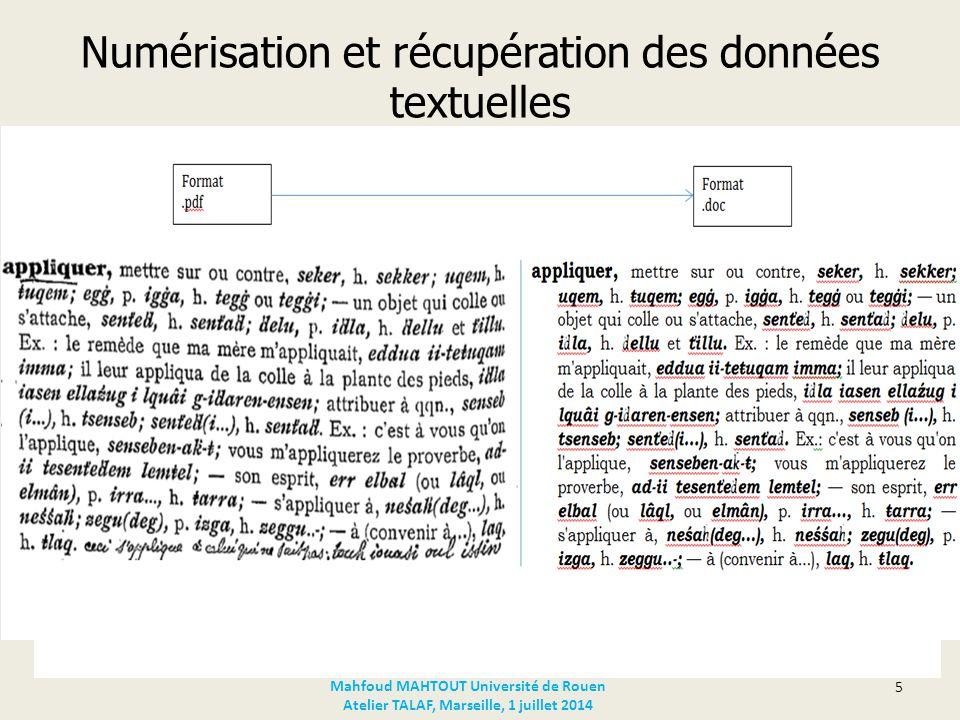 Numérisation et récupération des données textuelles