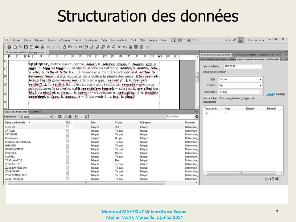 Structuration des données