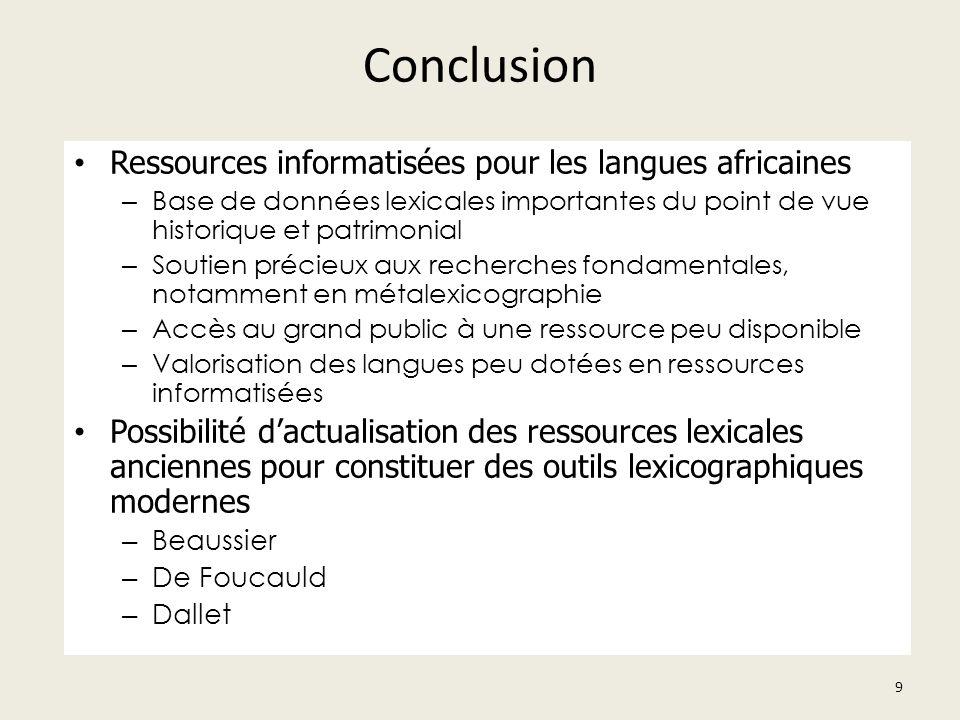 Conclusion Ressources informatisées pour les langues africaines