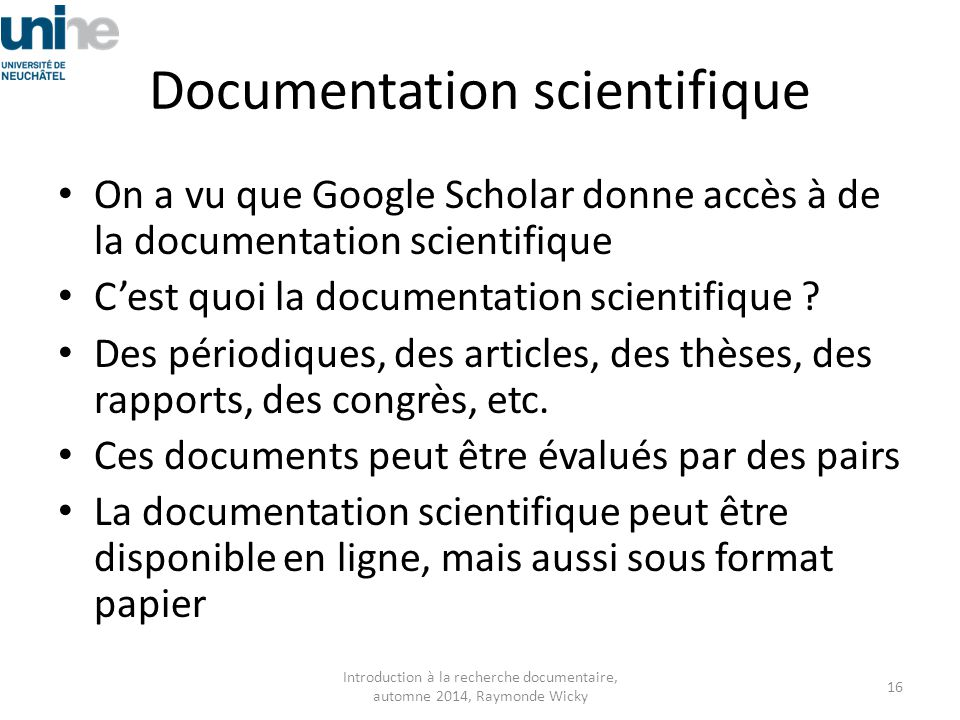 Documentation scientifique