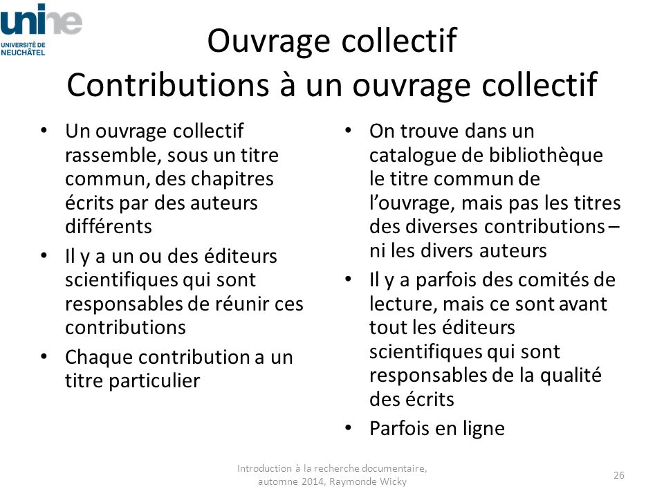 Ouvrage collectif Contributions à un ouvrage collectif
