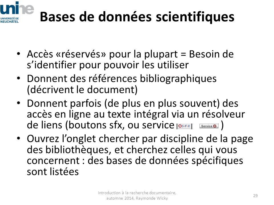 Bases de données scientifiques