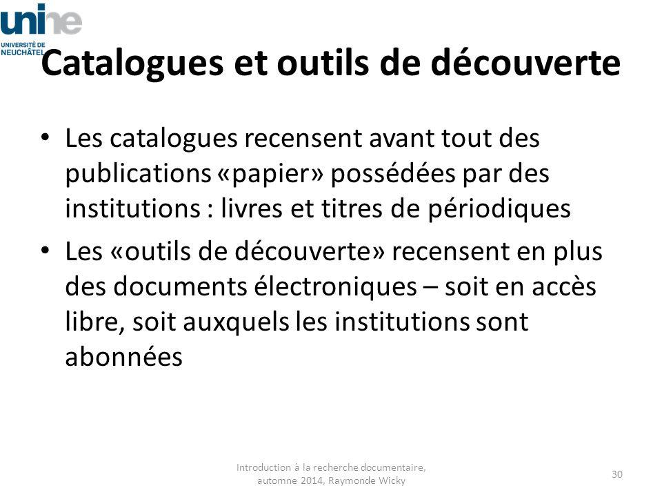 Catalogues et outils de découverte