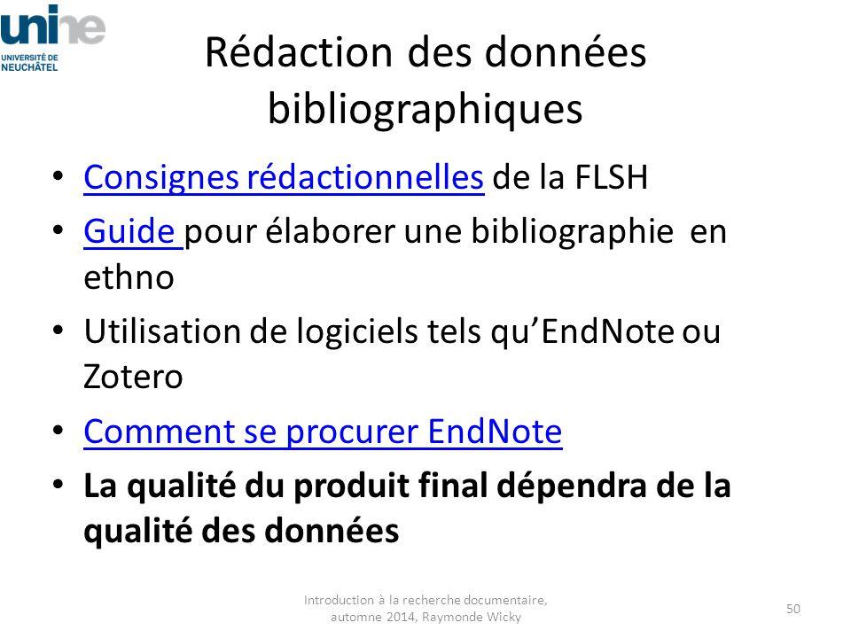 Rédaction des données bibliographiques