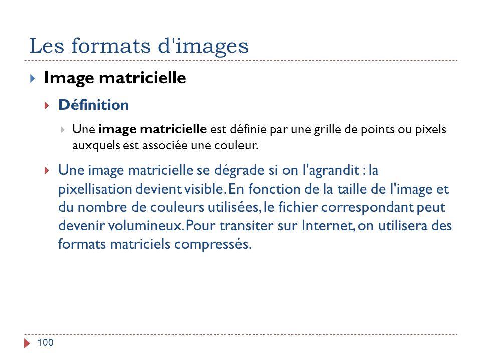 Les formats d images Image matricielle Définition