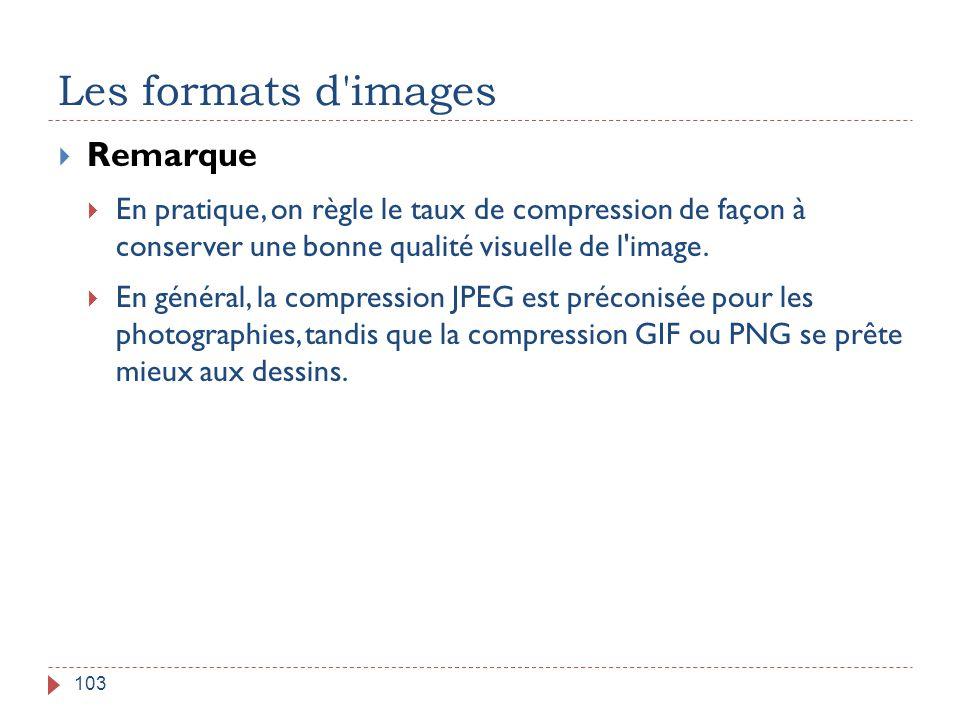 Les formats d images Remarque