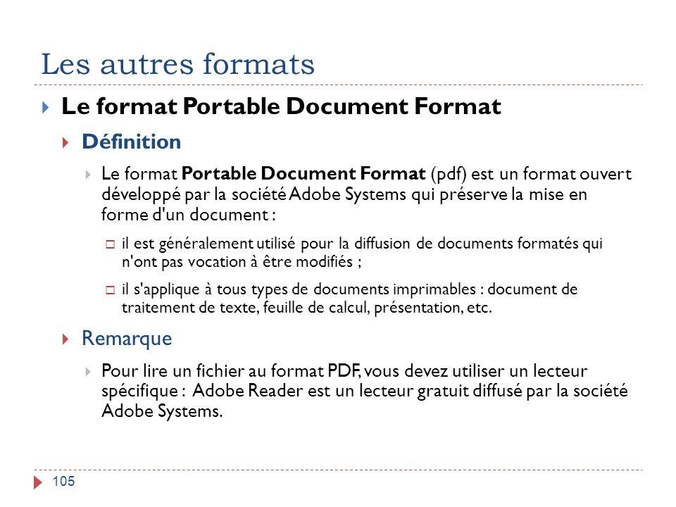 Les autres formats Le format Portable Document Format Définition