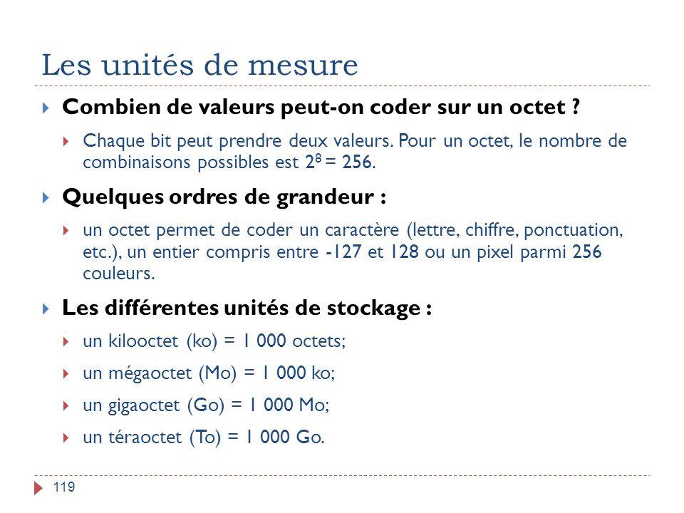 Les unités de mesure Combien de valeurs peut-on coder sur un octet