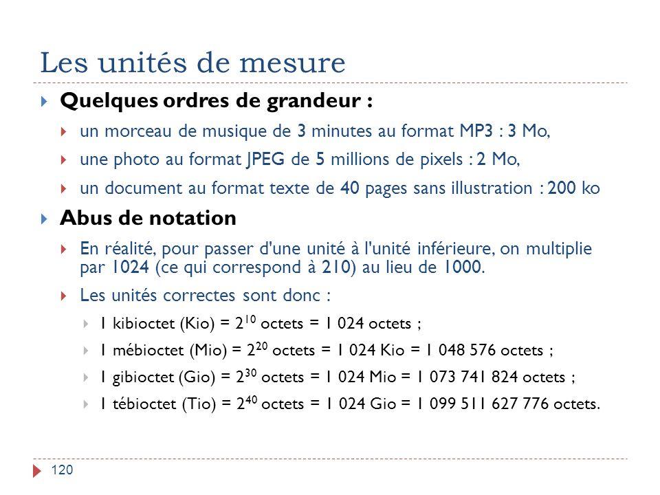 Les unités de mesure Quelques ordres de grandeur : Abus de notation