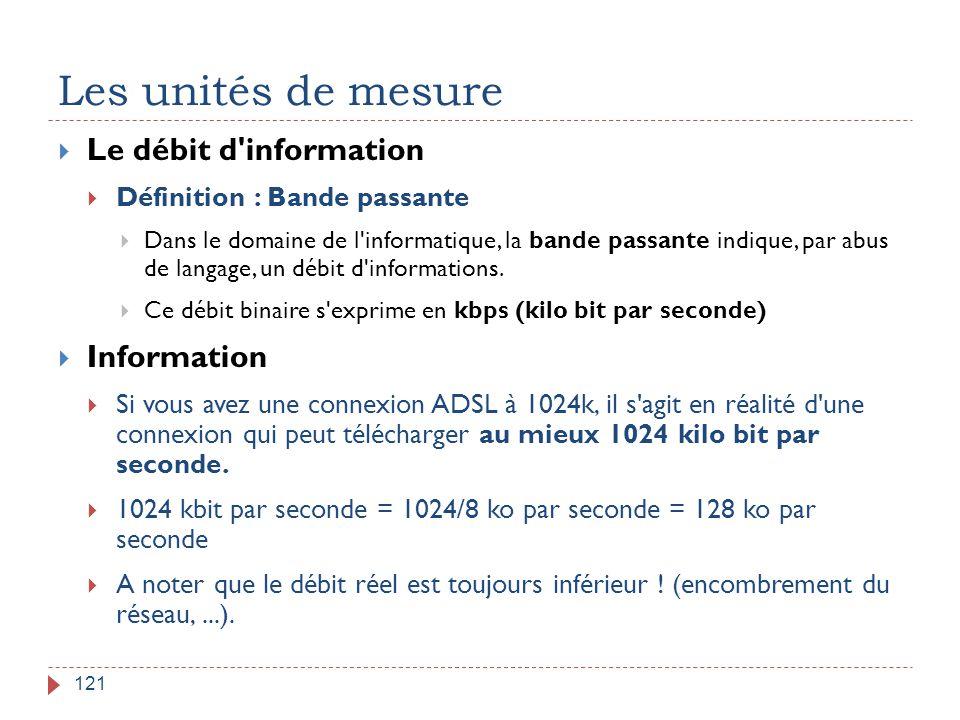 Les unités de mesure Le débit d information Information