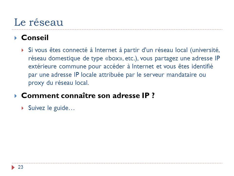 Le réseau Conseil Comment connaître son adresse IP