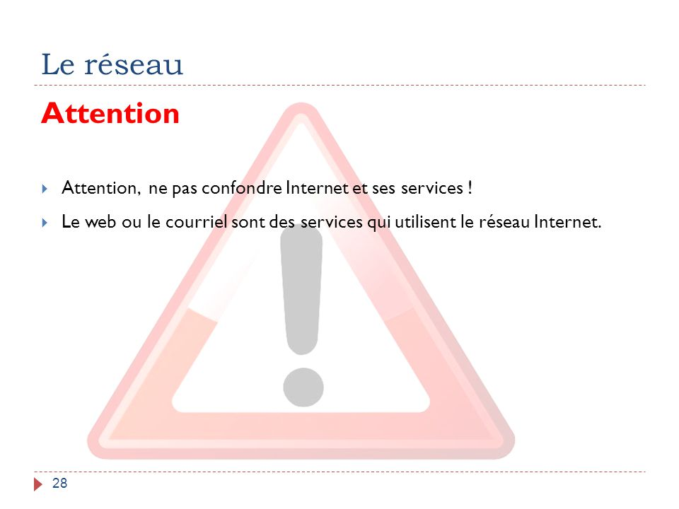 Le réseau Attention. Attention, ne pas confondre Internet et ses services !