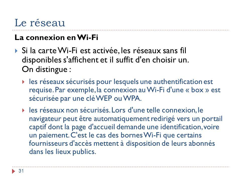 Le réseau La connexion en Wi-Fi.