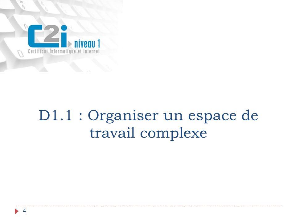 D1.1 : Organiser un espace de travail complexe