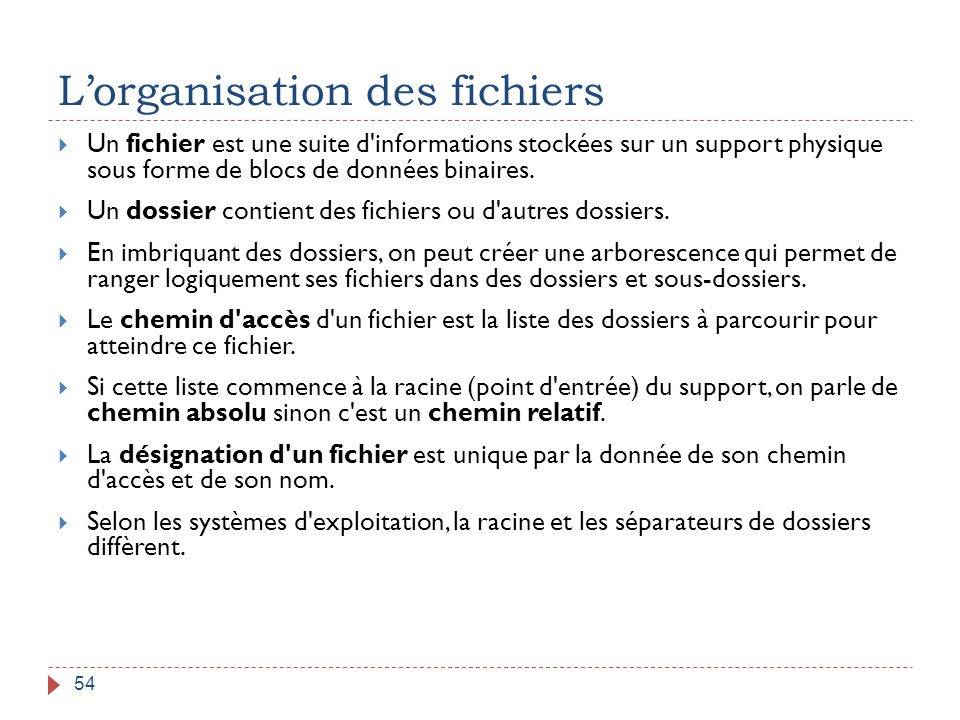 L'organisation des fichiers