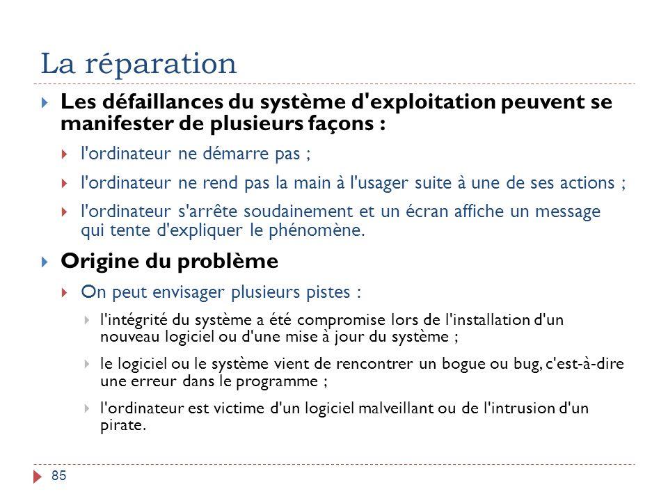 La réparation Les défaillances du système d exploitation peuvent se manifester de plusieurs façons :