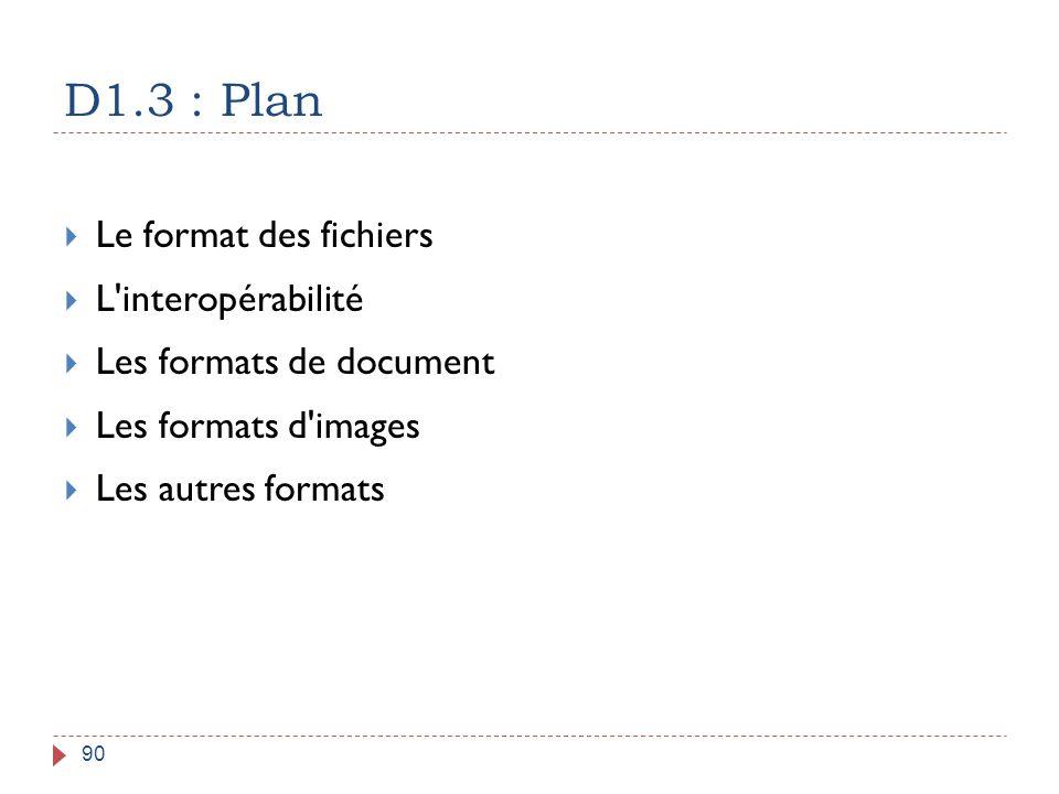 D1.3 : Plan Le format des fichiers L interopérabilité