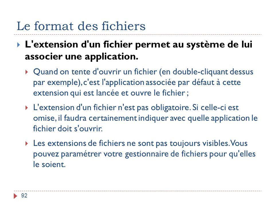 Le format des fichiers L extension d un fichier permet au système de lui associer une application.