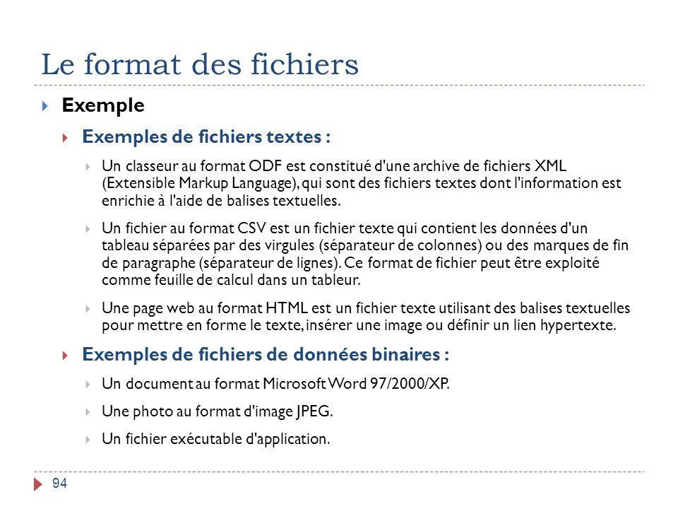 Le format des fichiers Exemple Exemples de fichiers textes :