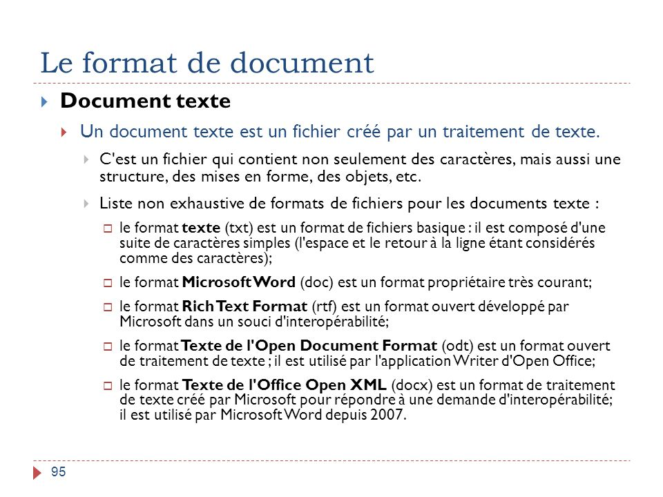 Le format de document Document texte