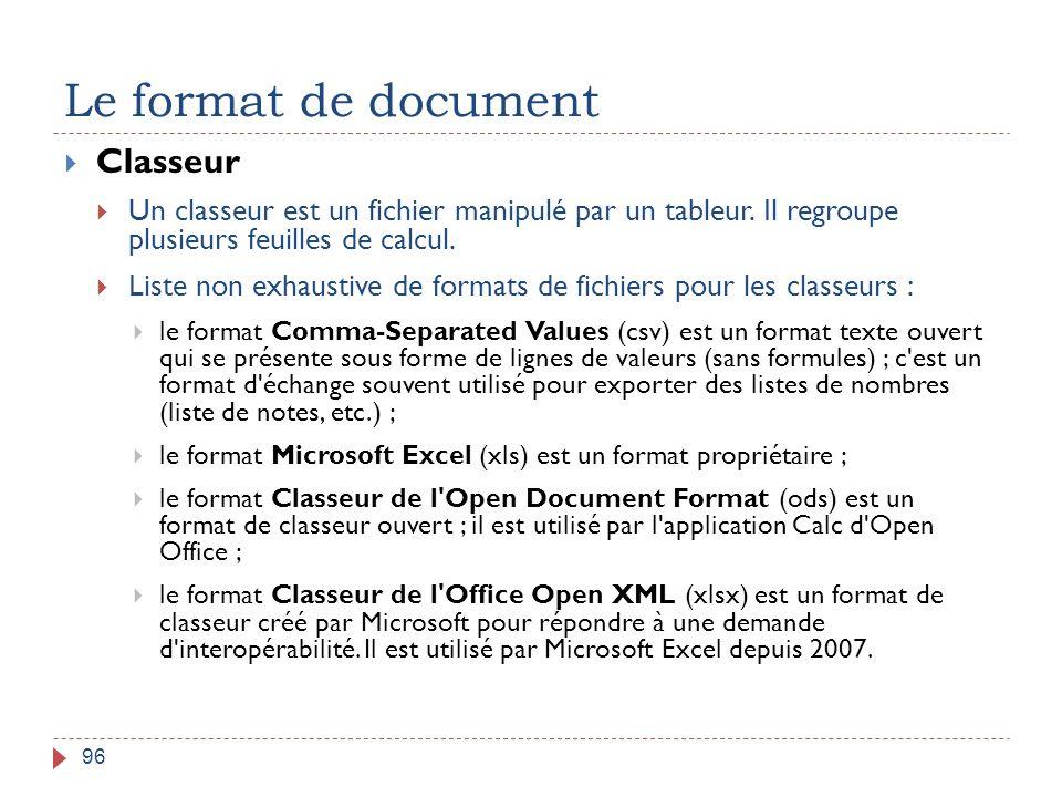Le format de document Classeur