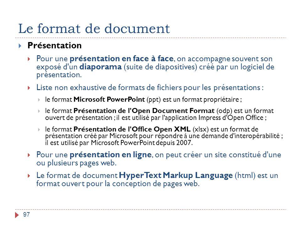 Le format de document Présentation