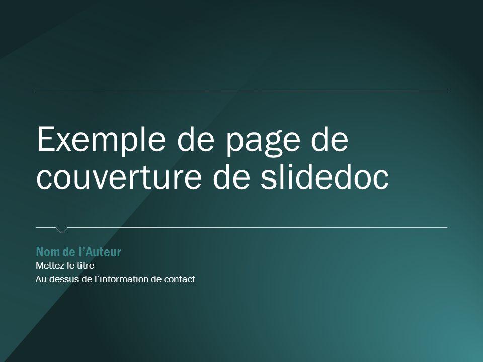 Exemple de page de couverture de slidedoc