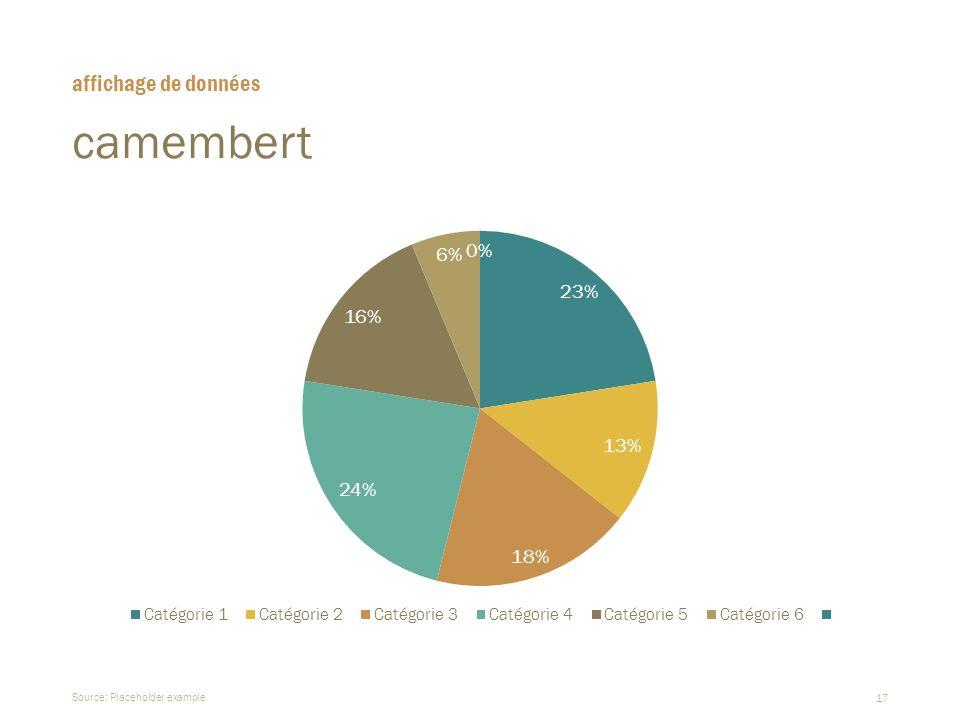 affichage de données camembert Source: Placeholder example