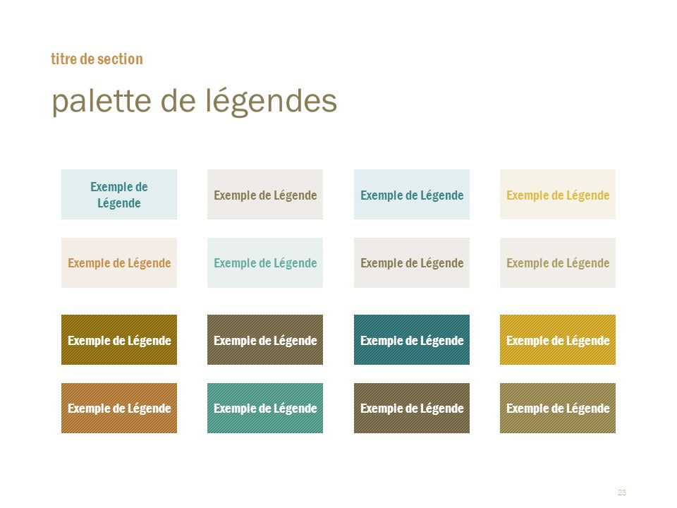 palette de légendes titre de section Exemple de Légende