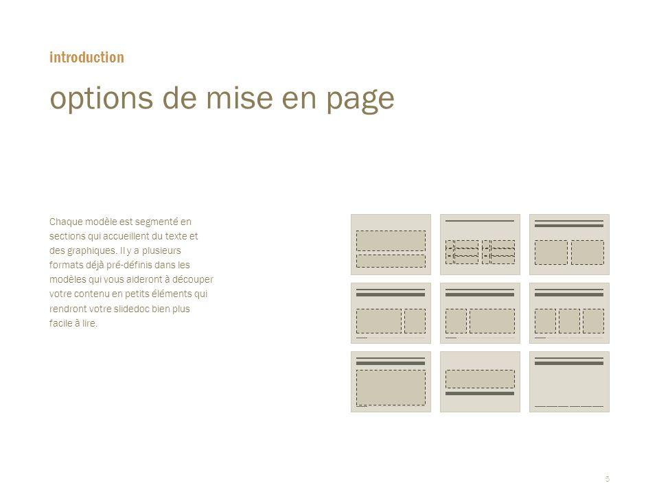 options de mise en page introduction